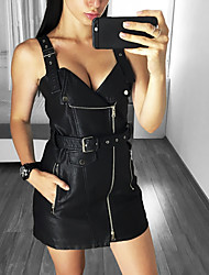 cheap -Women's A Line Dress Short Mini Dress Black Sleeveless Solid Color Zipper Fall Summer V Neck Work 2021 S M L XL XXL 3XL