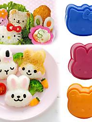 cheap -3D Cartoon Sushi Maker Children Rice Ball Mould Sandwich DIY Tool Kitchen Accessories 3Pcs Cute Roll Mold