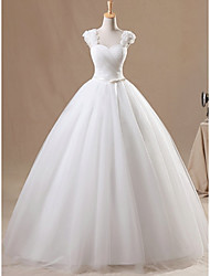 cheap -Ball Gown Wedding Dresses Jewel Neck Floor Length Chiffon Tulle Sleeveless Formal with Ruched Appliques 2021