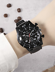 cheap -Men's Sport Watch Quartz Sporty Stylish Cool Altimeter Analog White Black Blue / Silicone / Chronograph / Large Dial
