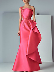 cheap -Mermaid / Trumpet Elegant Floral Engagement Prom Dress Illusion Neck Sleeveless Floor Length Satin with Appliques 2021