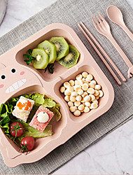 cheap -Baby Cutlery Set Children's Home Cartoon Cute Anti-fall Grid Plate Infants And Young Children Eat Bowl Dinner