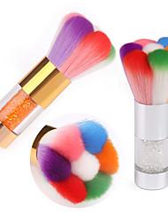 cheap -Nail rainbow brush cleaning brush rhinestone metal handle petal type environmental protection nail brush dust brush nail brush