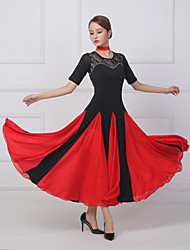 cheap -Ballroom Dance Dress Lace Split Joint Crystals / Rhinestones Women's Training Performance Short Sleeve Lycra Imitation Silk