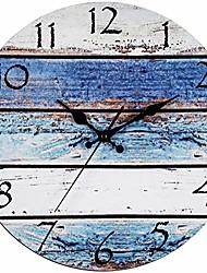 cheap -rustic beach wall clock 12 round, silent non ticking quartz - battery operated, fiberboard wooden look, vintage shabby beachy ocean coastal paint boards nautical decorative clocks 30cm*30cm