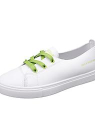 رخيصةأون -نسائي أحذية رياضية الصيف كعب مسطخ أمام الحذاء على شكل دائري كاجوال مناسب للبس اليومي الأماكن المفتوحة PU أبيض / أخضر
