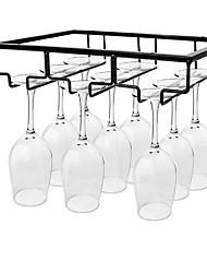 cheap -Wine Glass Rack Under Cabinet Stemware Holder Metal Wine Glass Organizer Glasses Storage Hanger for Bar Kitchen Home Black Gold White 3 Rows