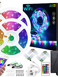 cheap -50ft 2x7.5M WIFI App Controlled Music Sync Colour Changing RGB LED Strip Lights with 24-Key Remote Sensitive Built-in Mic 5050 RGB LED Light Strip Kit DC12V