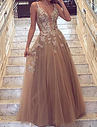 cheap -A-Line Cut Out Floral Engagement Prom Dress V Neck Sleeveless Floor Length Tulle with Overskirt Appliques 2020