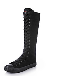 cheap -Women's Boots Knee High Boots Summer / Fall Flat Heel Round Toe / Closed Toe Comfort Fashion Boots Outdoor Solid Colored Rubber Knee High Boots White / Black / EU42