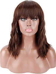 cheap -Synthetic Wig Bouncy Curl Curly Weave Neat Bang Wig Long Medium Length Dark Brown Synthetic Hair 14 inch Women's Natural New Arrival Dark Brown