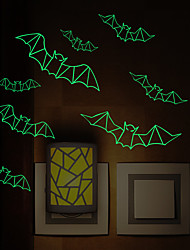 cheap -Halloween Party Toys Wall Stickers 16 pcs Bat Random Color Grow in The Dark PVC Kid's Adults Trick or Treat Halloween Party Favors Supplies