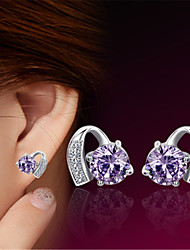 cheap -Women's Purple Crystal Stud Earrings Classic Heart Stylish Birthstones Platinum Plated Earrings Jewelry Silver For Wedding Party Gift Daily Work 1 Pair