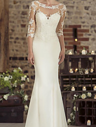 cheap -Sheath / Column Wedding Dresses Jewel Neck Floor Length Lace Stretch Satin 3/4 Length Sleeve Vintage See-Through with Appliques 2020