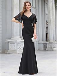 cheap -Mermaid / Trumpet Elegant Vintage Party Wear Formal Evening Dress V Neck Half Sleeve Floor Length Jersey with Sequin 2020