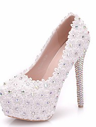 cheap -Women's Heels Summer Pumps Round Toe Daily Solid Colored PU White