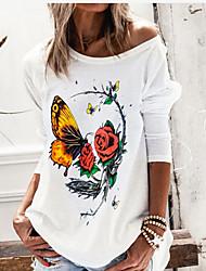 cheap -Women's Blouse Shirt Animal Long Sleeve Round Neck Tops Basic Top White Black Wine