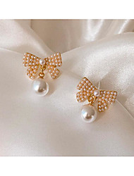 cheap -Women's Earrings Classic Love Bowknot Classic Vintage Pearl Earrings Jewelry White For Gift Daily 1 Pair