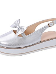 cheap -Women's Sandals Summer / Fall Flat Heel Round Toe Casual Daily Home Rhinestone / Bowknot Faux Leather Black / Blue / Pink