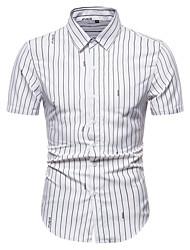 billige -Herre Stribet Skjorte Forretning Basale Daglig Hvid / Navyblå