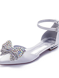 cheap -Women's Wedding Shoes Flat Heel Pointed Toe Classic Sweet Wedding Party & Evening Satin Rhinestone Sequin Solid Colored Summer White Ivory
