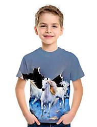 cheap -Kids Boys' Basic Horse Animal Print Short Sleeve Tee Blue