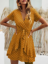 cheap -Women's Wrap Dress Short Mini Dress Black Red Yellow Short Sleeve Polka Dot Summer V Neck Hot Casual 2021 M L XL XXL 3XL 4XL 5XL