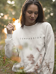cheap -Women's Sweatshirt Graphic Letter Casual Basic Hoodies Sweatshirts  Cotton Slim White