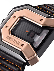 cheap -BENYAR Men's Sport Watch Quartz Modern Style Sporty Outdoor Water Resistant / Waterproof Analog Black+Gloden Red+Golden Black / Leather