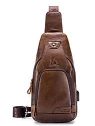 cheap -Men's Bags Nappa Leather Sling Shoulder Bag Chest Bag Zipper Holiday Outdoor Dark Brown Black Brown