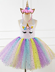 cheap -Unicorn Dress Girls' Movie Cosplay Vacation Dress New Year's Pink Rainbow Dress Headwear Christmas Halloween Carnival Polyester / Cotton Polyester