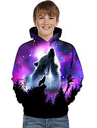 cheap -Kids Toddler Boys' Hoodie & Sweatshirt Long Sleeve Wolf Color Block Geometric Animal Print Purple Children Tops Active Basic Christmas