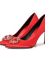 رخيصةأون -نسائي كعوب الصيف كعب ستيلتو حذاء براس مدبب زفاف مناسب للبس اليومي لون سادة ستان أحمر / بني فاتح