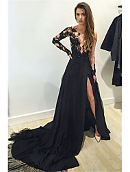cheap -A-Line Sexy See Through Formal Evening Dress Jewel Neck Long Sleeve Chapel Train Chiffon with Appliques Split Front 2021