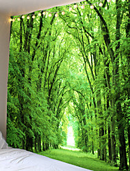 cheap -Modern landscape theme bright green leaves fresh trees tapestries wall hanging hanging cloth background cloth decorative cloth