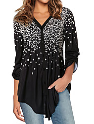 cheap -Women's Blouse Shirt Polka Dot Long Sleeve Print V Neck Tops Basic Basic Top Black