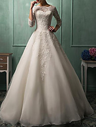 cheap -A-Line Wedding Dresses Jewel Neck Sweep / Brush Train Lace Organza 3/4 Length Sleeve Glamorous with Appliques 2020