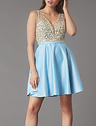 cheap -A-Line Flirty Sparkle Homecoming Cocktail Party Dress V Neck Sleeveless Short / Mini Satin with Pleats Sequin 2020