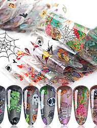cheap -10 Sheets Nail Stickers Nail Art Starry Paper Set Halloween Pumpkin Skull Transparent Bottom Christmas Style for DIY Nail Art Decorations