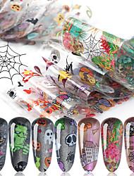 cheap -10 Sheets Nail Stickers Nail Art Starry Paper Set Halloween Pumpkin Skull Transparent Bottom Christmas Style for DIY Nail Art Decorations