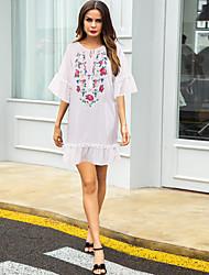 رخيصةأون -نسائي فستان خفيف فستان ميني - نصف كم ورد مكشكش الصيف كاجوال مومو 2020 أبيض S M L XL