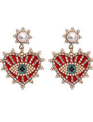 cheap -Women's Drop Earrings Earrings Dangle Earrings Heart Sweet Heart Statement Bohemian Romantic Cute Imitation Pearl Earrings Jewelry Red For Gift Date Vacation Street Festival / Crystal Earrings