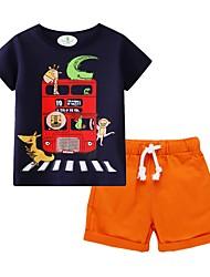 baratos -Infantil Para Meninos Básico Estampado Manga Curta Conjunto Amarelo