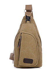 cheap -Unisex Bags Canvas Sling Shoulder Bag Chest Bag Solid Colored Canvas Bag Sports Outdoor Black Army Green Khaki Brown