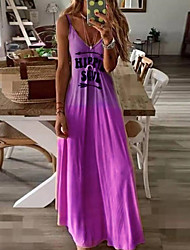 cheap -Women's Sheath Dress Maxi long Dress - Sleeveless Letter Summer Sexy Boho 2020 Blue Purple Red Yellow Blushing Pink Green Gray S M L XL XXL XXXL XXXXL XXXXXL