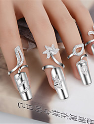 cheap -Women's Nail Finger Ring AAA Cubic Zirconia 1pc Silver Silver 2 Silver 3 Platinum Plated Alloy Stylish Wedding Party Jewelry Cute