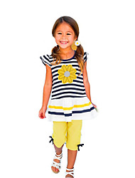 cheap -Toddler Girls' Clothing Set Short Sleeve Yellow Striped Solid Colored Print Daily Holiday Active Regular