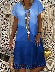 cheap -Women's Shift Dress Knee Length Dress Blue Short Sleeve Geometric Summer V Neck Hot Casual 2021 L XL XXL