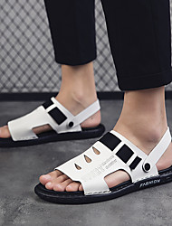 cheap -Men's Summer Casual / British Daily Outdoor Sandals Walking Shoes Leather / Nappa Leather Breathable Non-slipping Wear Proof White / Black / Gray