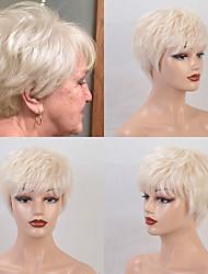 cheap -Remy Human Hair Wig Short Straight Natural Straight Bob Pixie Cut Layered Haircut Asymmetrical Black Brown Women Fashion Natural Hairline Capless Women's All Natural Black #1B Medium Auburn#30 Dark